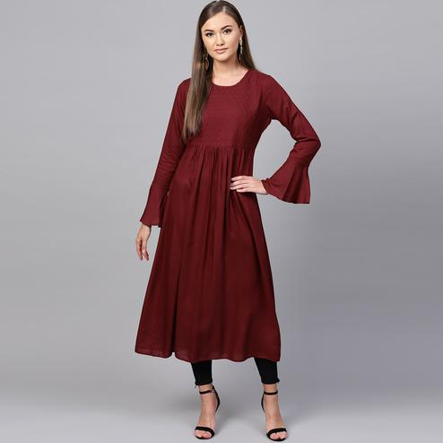 Radiant Maroon Colored Casual Wear Rayon Kurti