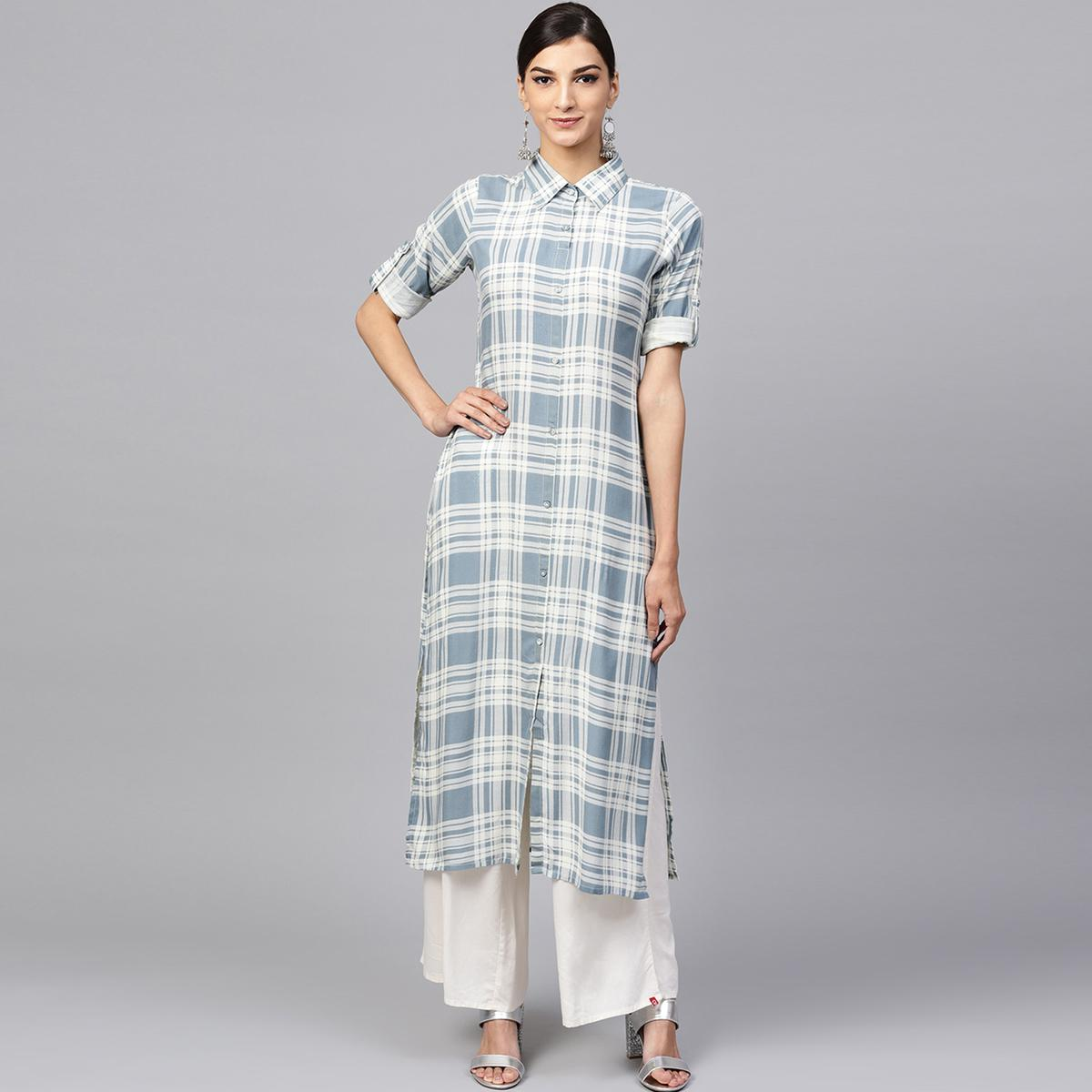 Unique White-Gray Colored Casual Wear Rayon Kurti
