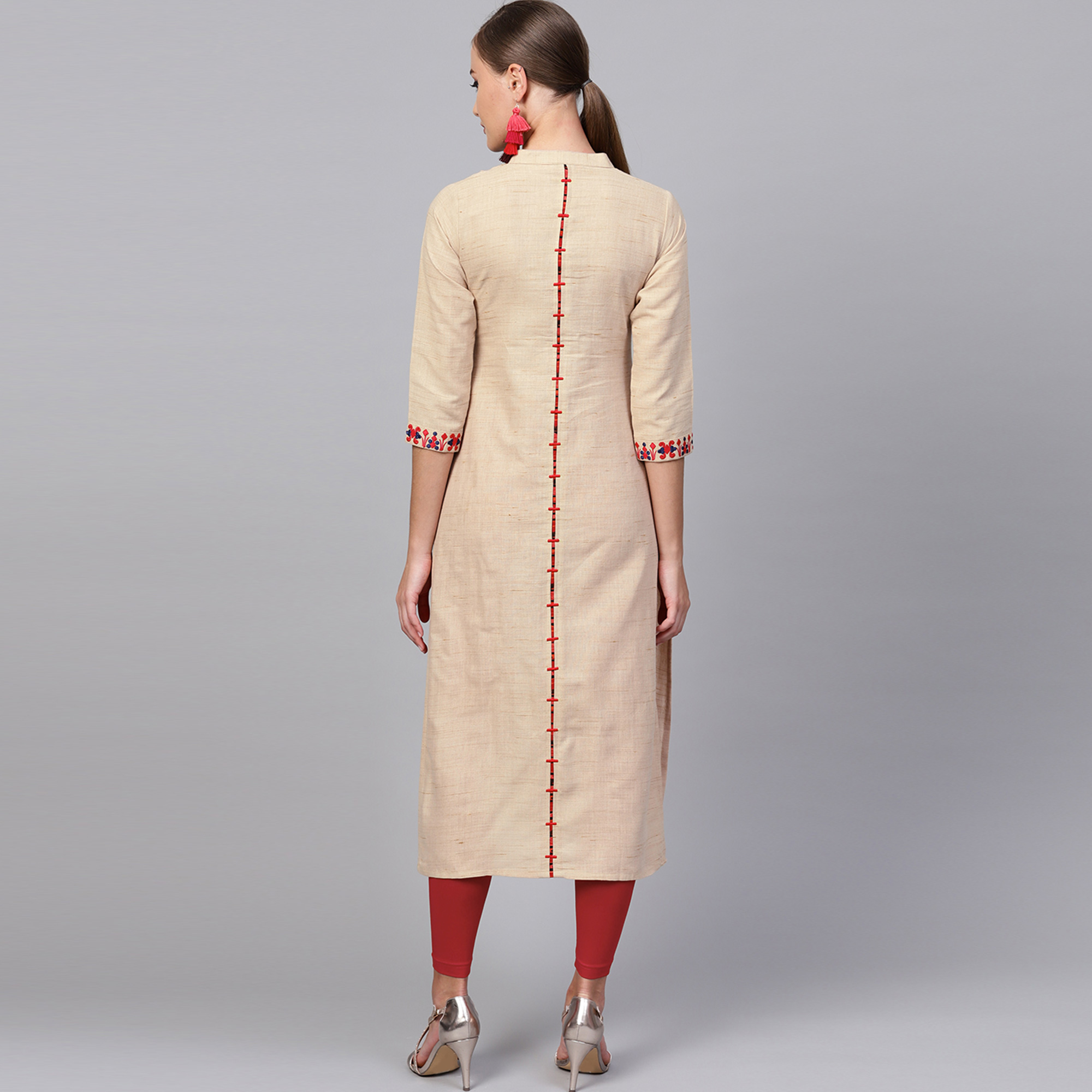 Captivating Chiku Colored Casual Embroidered Cotton Kurti