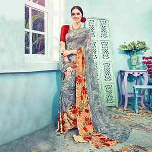 Grey Floral Printed Georgette Saree