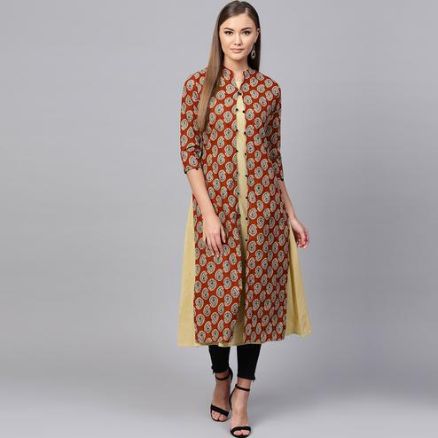 Demanding Light Yellow-Maroon Colored Partywear Printed Cotton Kurti
