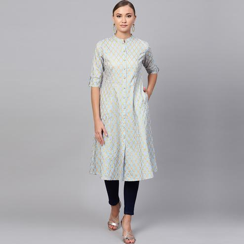 Refreshing Light Aqua Blue Colored Partywear Printed Cotton Kurti