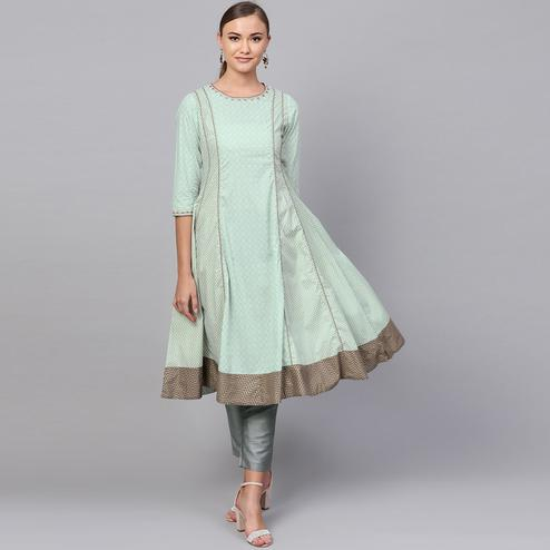 Groovy Mint Green Colored Partywear Printed Cotton Kurti