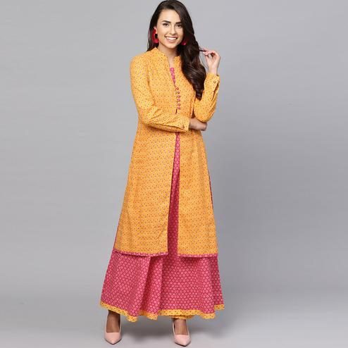 Ravishing Pink-Yellow Colored Partywear Printed Cotton Kurti