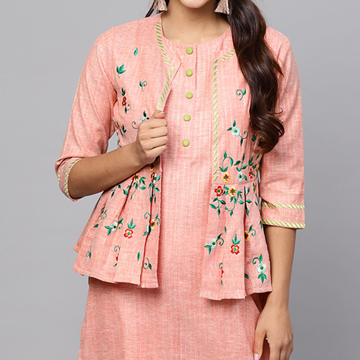 Pretty Pink Colored Partywear Embroidered Cotton Kurti