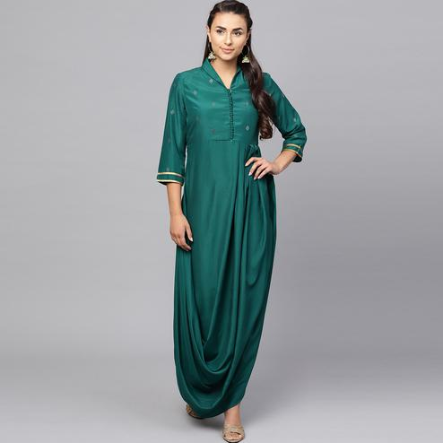 Ethnic Teal Green Colored Partywear Cotton kurti