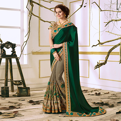 Bottle Green Designer Partywear Embroidered Satin Georgette Saree