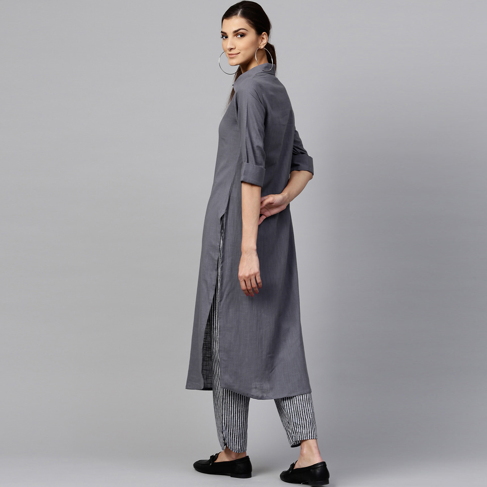 Desirable Dark Gray Colored Casual Wear Cotton Kurti And Bottom Set