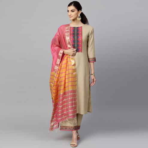 Amazing Beige Colored Casual Printed Cotton Kurti And Bottom Set
