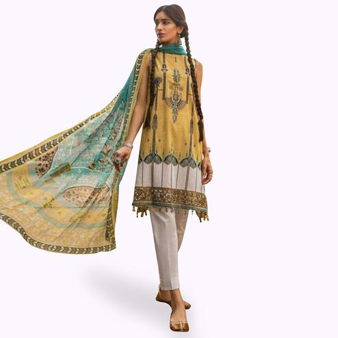 Marvellous Yellow Colored Partywear Embroidered Cotton Suit