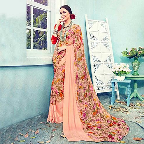 Peach Floral Printed Georgette Saree