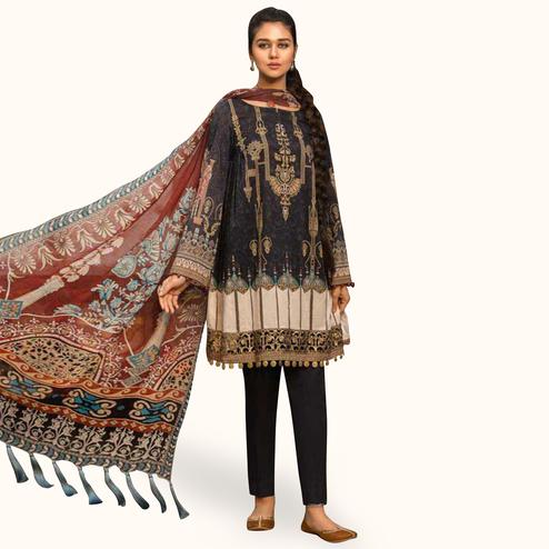 Flamboyant Black Colored Partywear Embroidered Cotton Suit