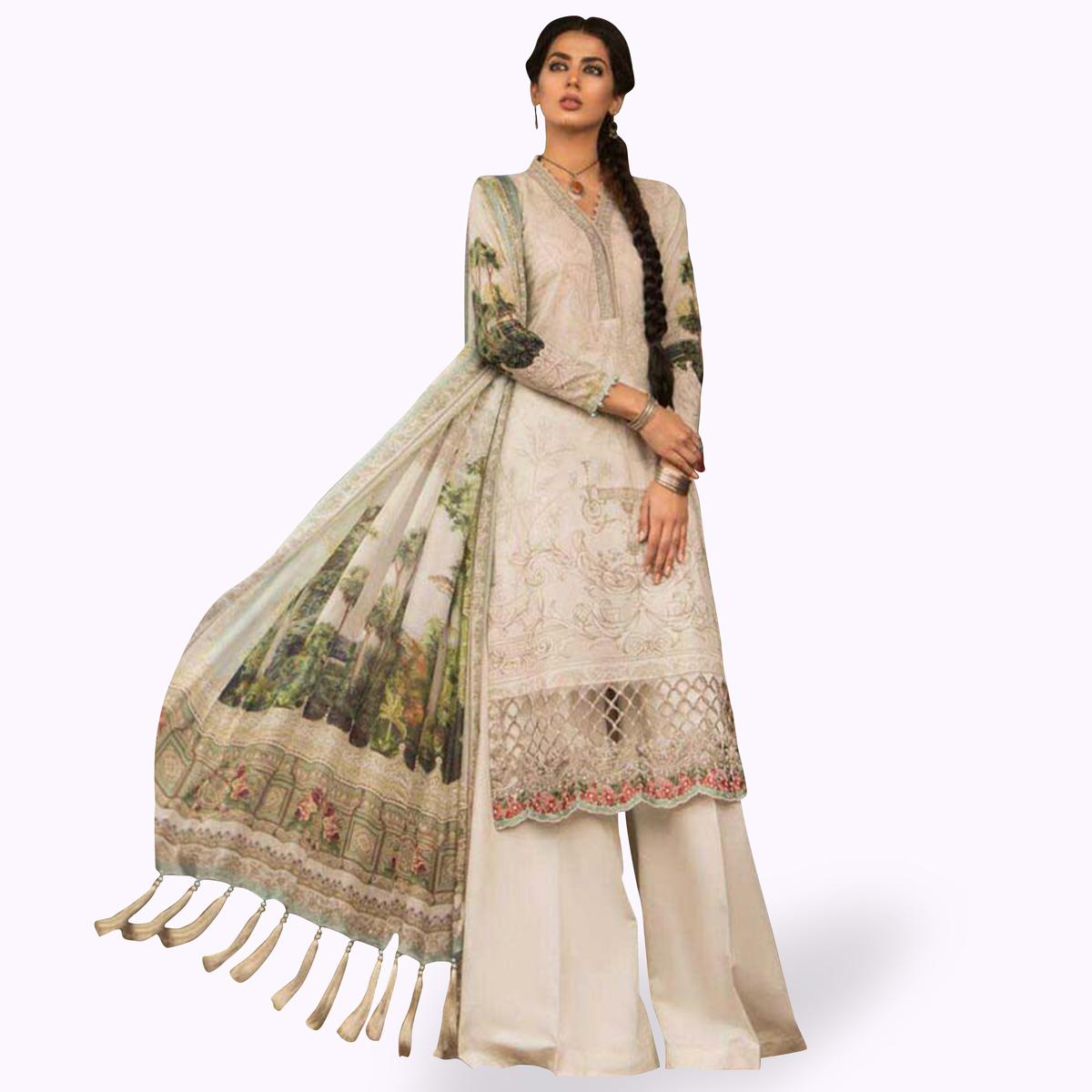 Pretty Off-White Colored Partywear Embroidered Cotton Palazzo Suit