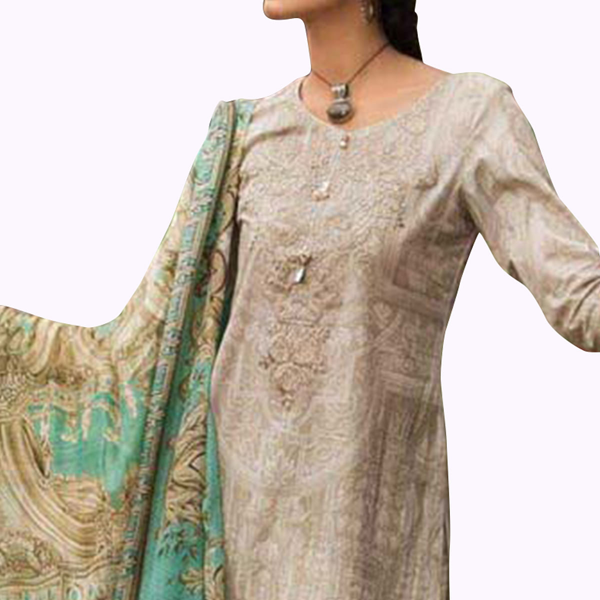 Alluring Gray Colored Partywear Embroidered Cotton Palazzo Suit