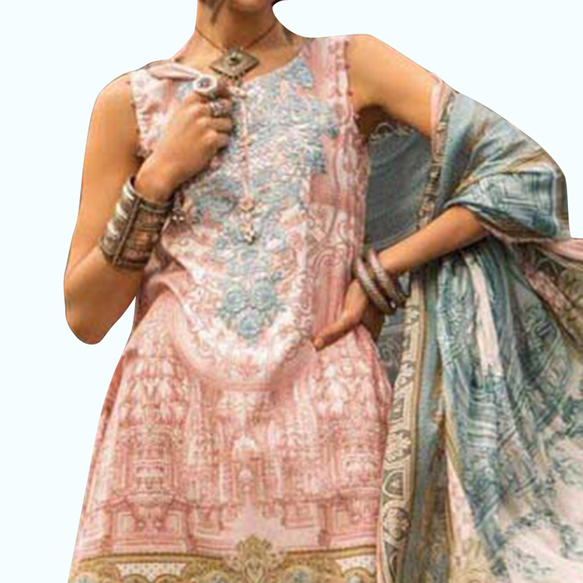 Flaunt Pink Colored Partywear Embroidered Cotton Palazzo Suit
