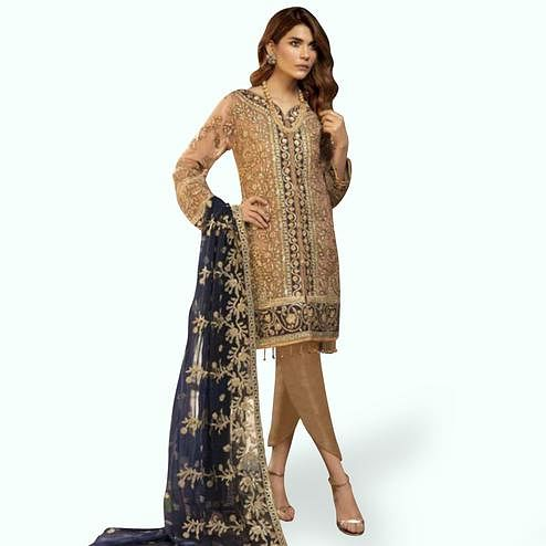 Pleasance Beige Colored Partywear Embroidered Faux Georgette Suit