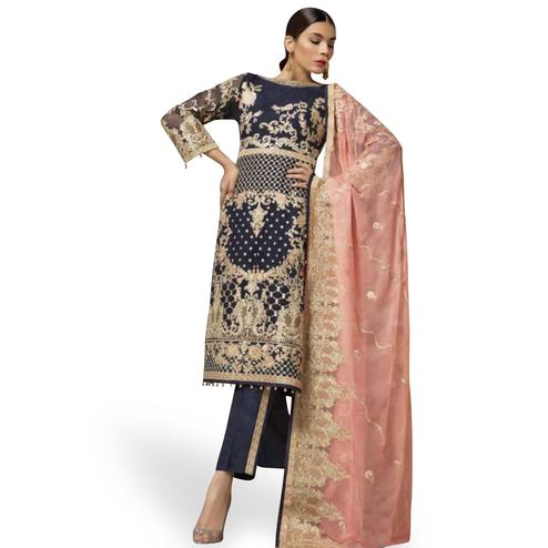 Breathtaking Navy Blue Colored Partywear Embroidered Faux Georgette Suit