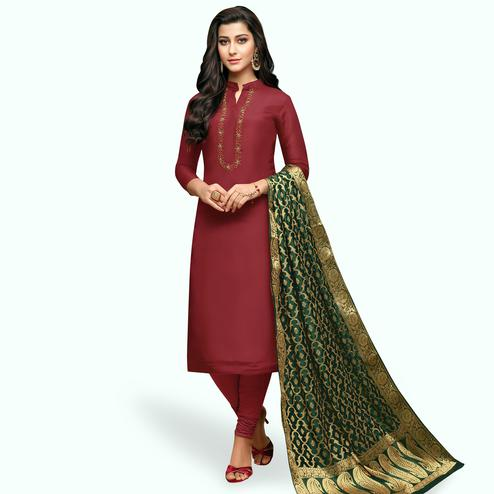 Sophisticated Maroon Colored Partywear Embroidered Silk Suit With Banarasi Dupatta