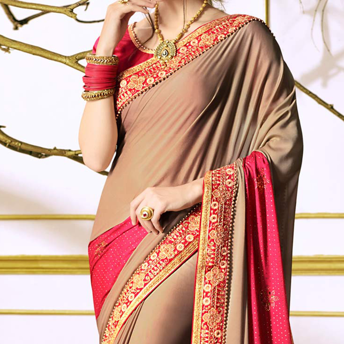 Chiku Colored Designer Partywear Embroidered Georgette Saree