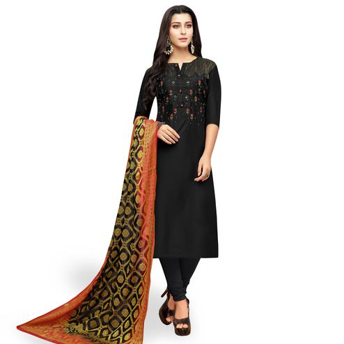 Trendy Black Colored Partywear Embroidered Silk Suit With Banarasi Dupatta