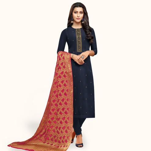 Radiant Navy Blue Colored Partywear Embroidered Silk Suit With Banarasi Dupatta