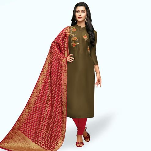 Pleasant Olive Green Colored Partywear Embroidered Silk Suit With Banarasi Dupatta
