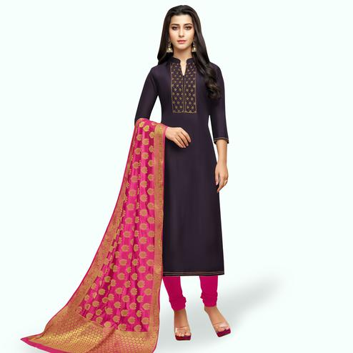 Energetic Dark Purple Colored Partywear Embroidered Silk Suit With Banarasi Dupatta