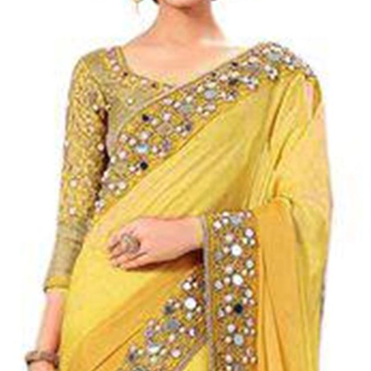 Amazing Yellow Colored Partywear Mirror Work Georgette Saree
