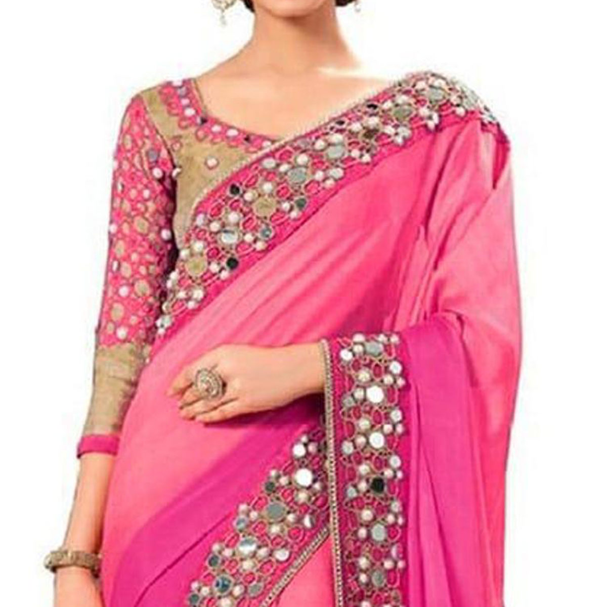 Blissful Pink Colored Partywear Mirror Work Georgette Saree