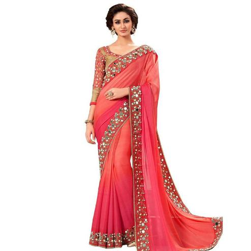 Ideal Peach-Pink Colored Partywear Mirror Work Georgette Saree