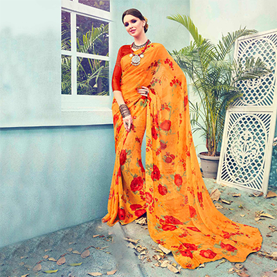 Orange Floral Printed Georgette Saree