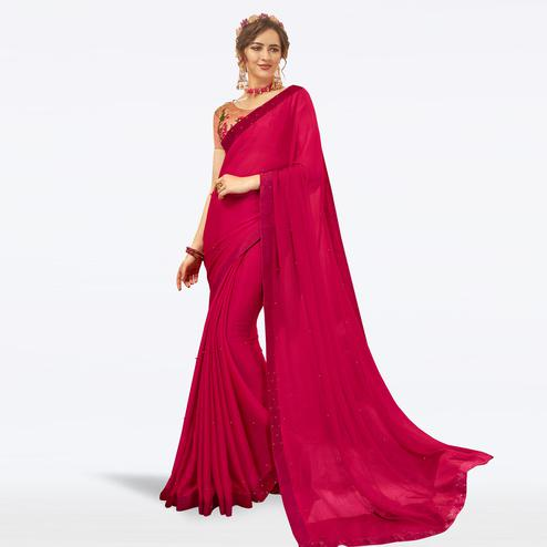 Marvellous Hot Pink Colored Partywear Georgette Saree