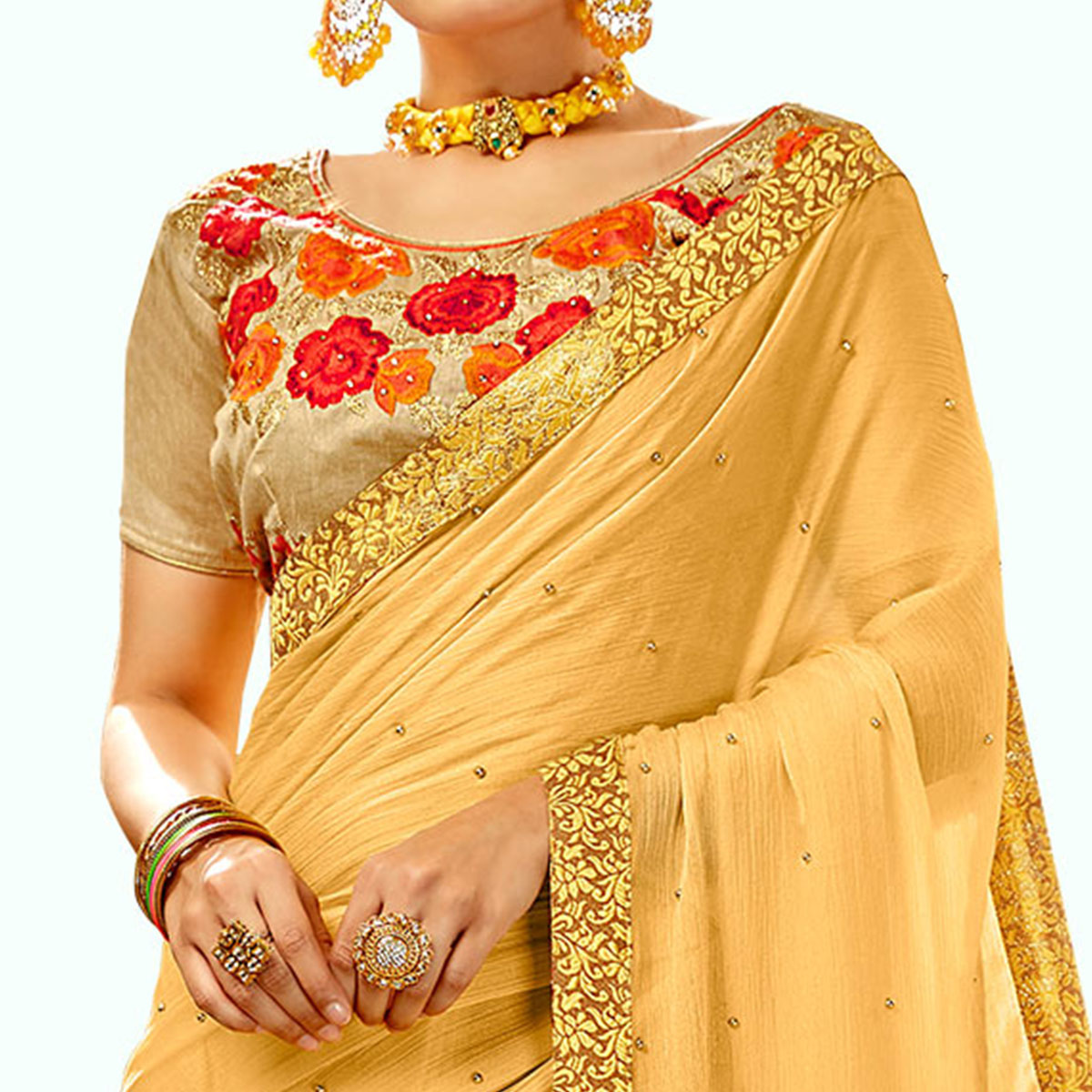 Flamboyant Yellow Colored Partywear Georgette Saree