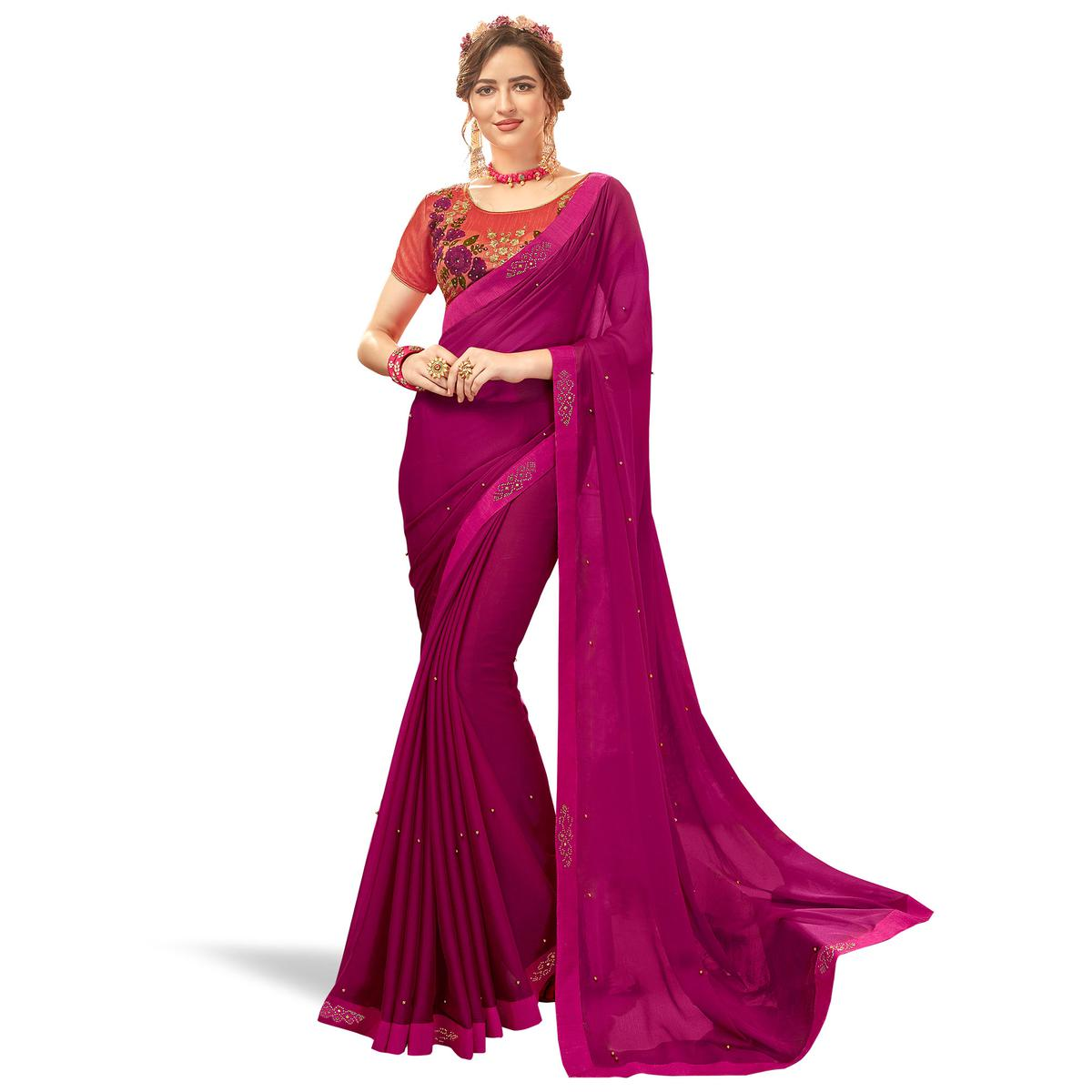 Pretty Dark Magenta Pink Colored Partywear Georgette Saree
