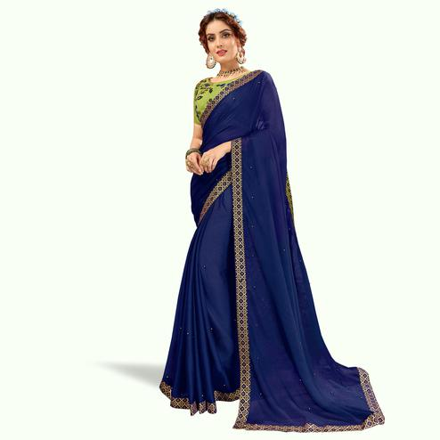 Sensational Navy Blue Colored Partywear Georgette Saree