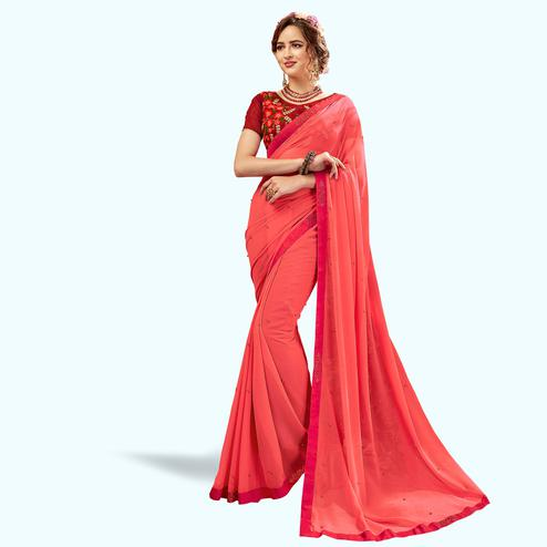 Flaunt Pink Colored Partywear Georgette Saree