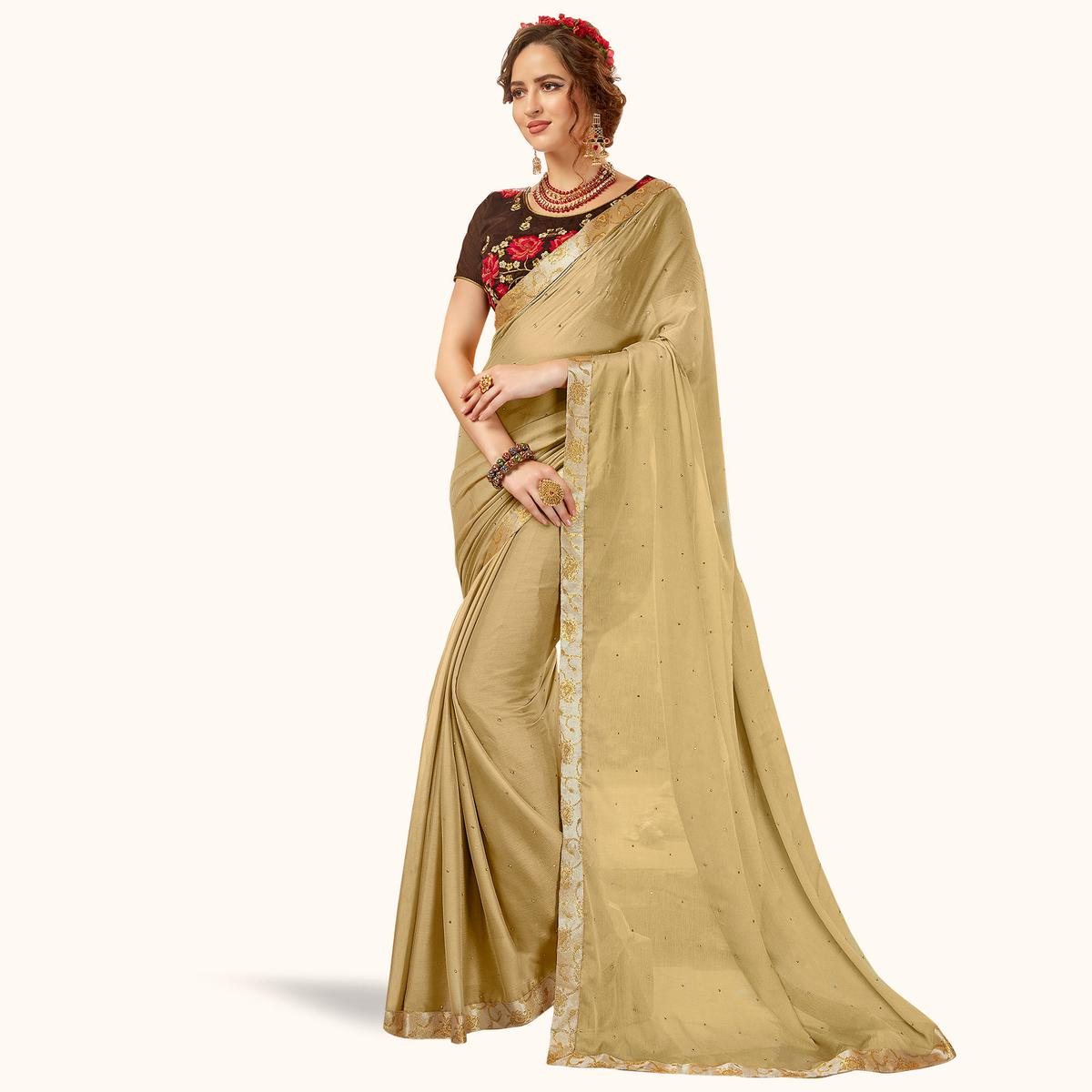 Stunning Chiku Colored Partywear Georgette Saree