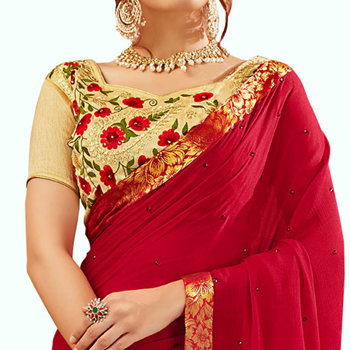 Magnetic Red Colored Partywear Georgette Saree