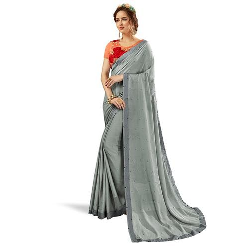 Hypnotic Gray Colored Partywear Georgette Saree