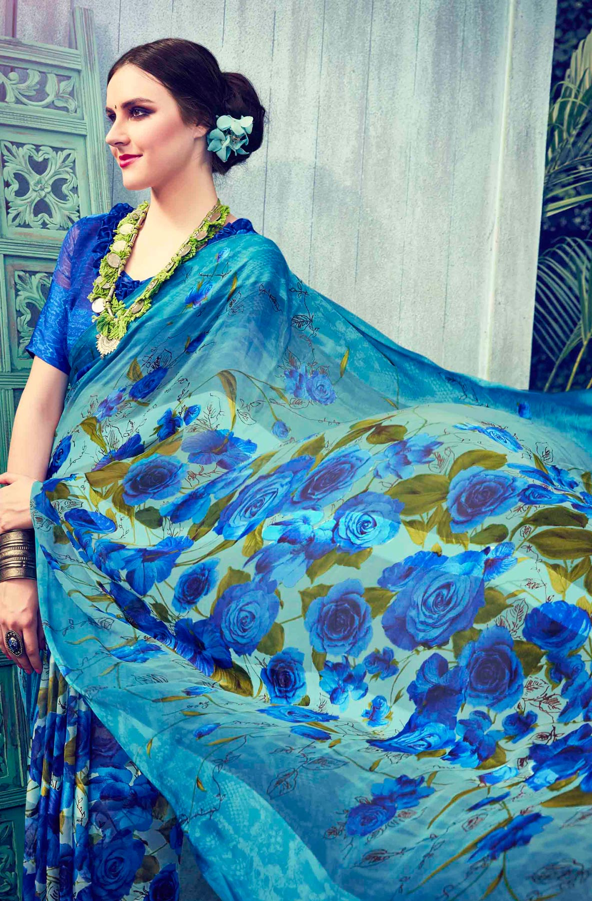 Shaded Blue Floral Printed Georgette Saree