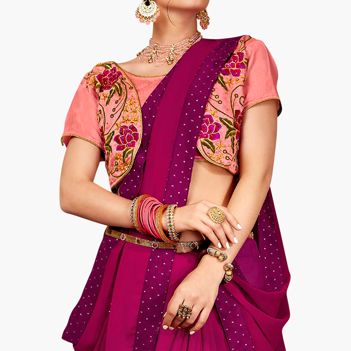 Adorning Dark Magenta Pink Colored Partywear Georgette Saree