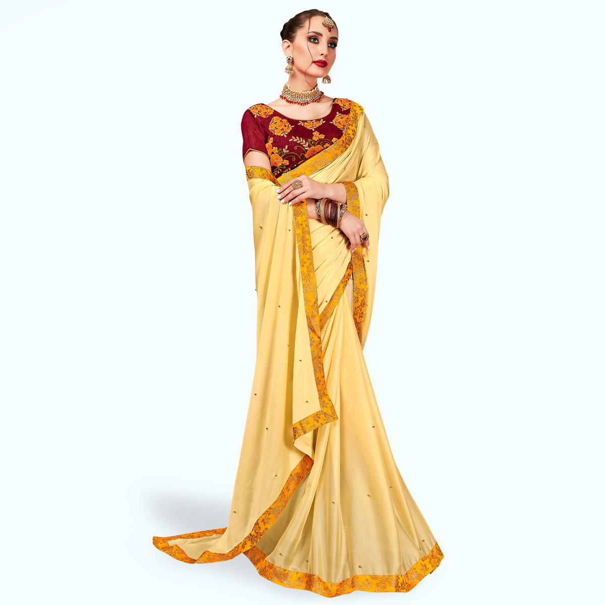 Appealing Yellow Colored Partywear Georgette Saree