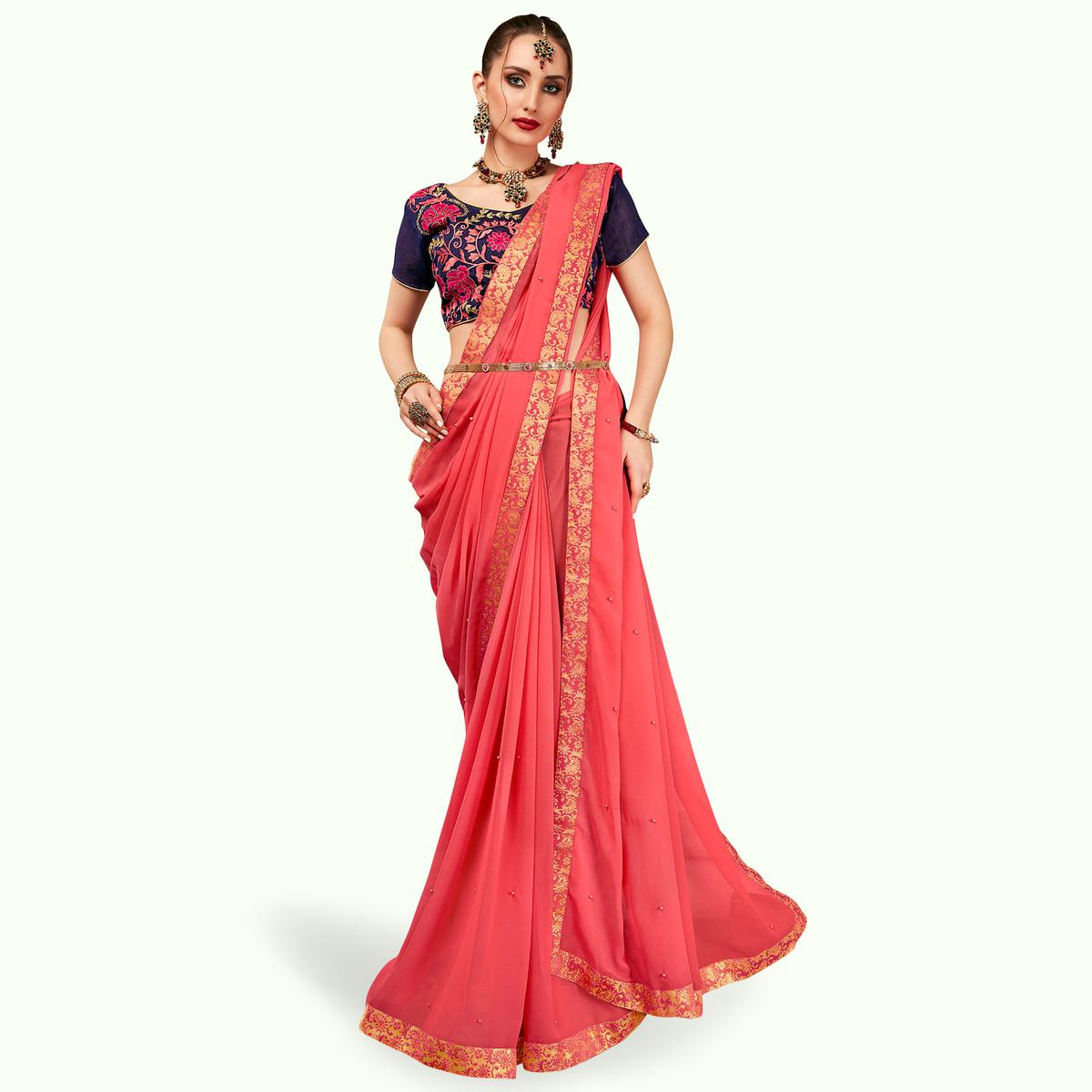 Capricious Pink Colored Partywear Georgette Saree