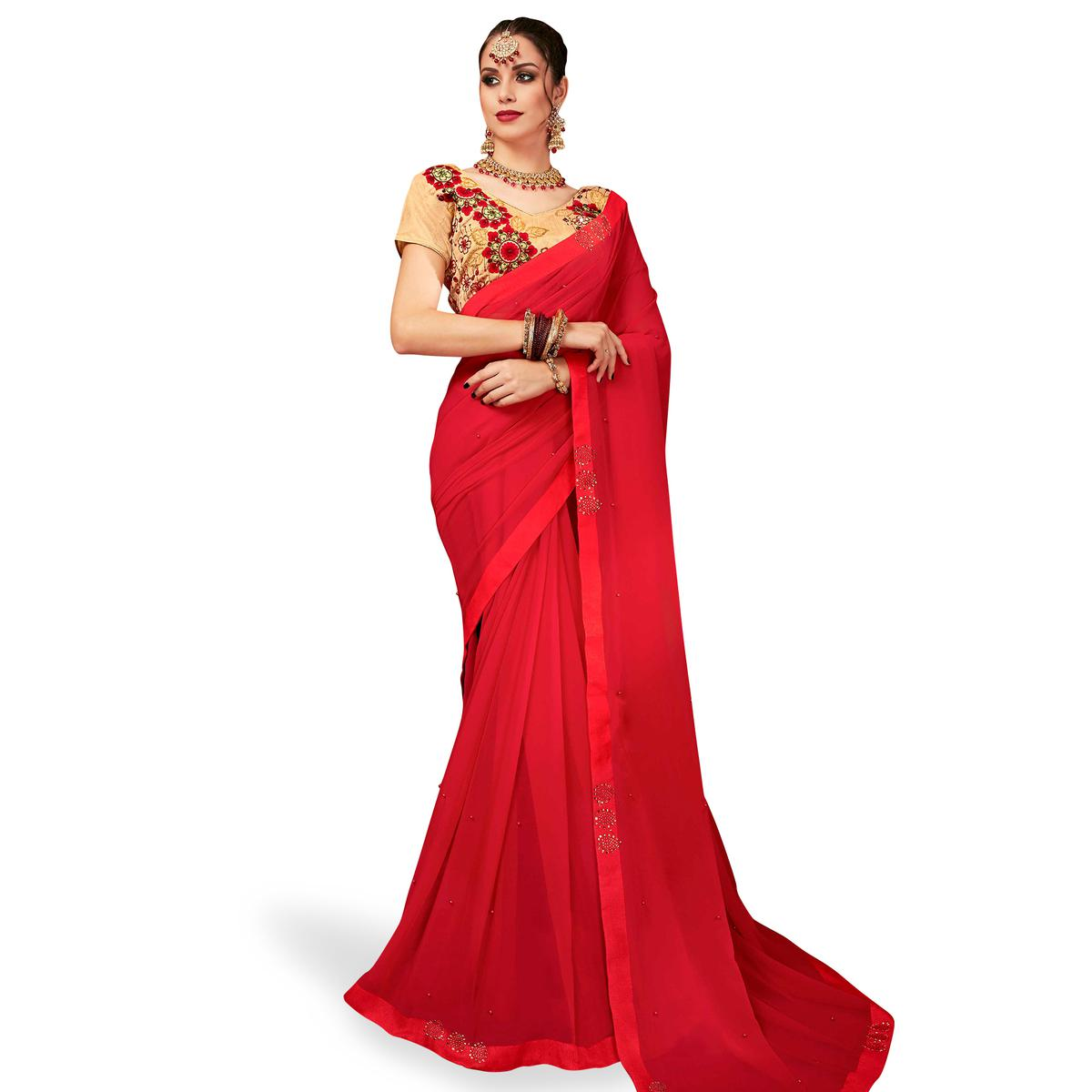 Entrancing Red Colored Partywear Georgette Saree