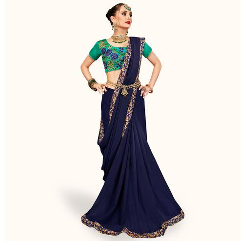 Groovy Navy Blue Colored Partywear Georgette Saree