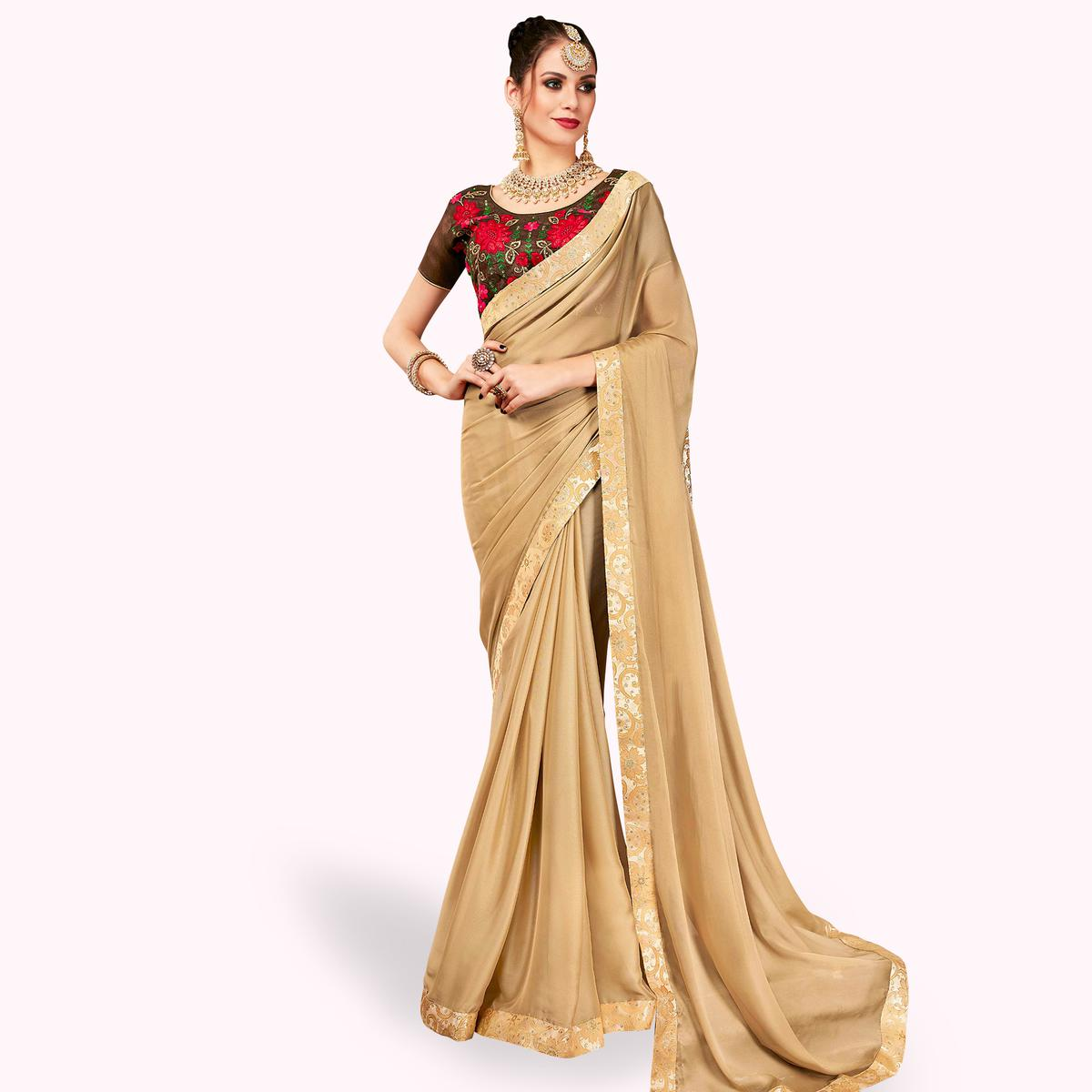 Prominent Chiku Colored Partywear Georgette Saree