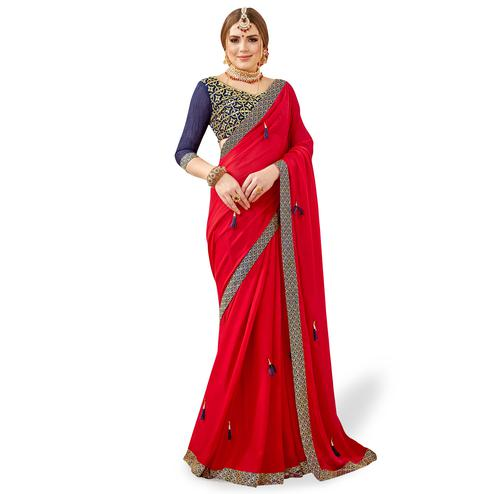 Adorable Red Colored Partywear Georgette Saree