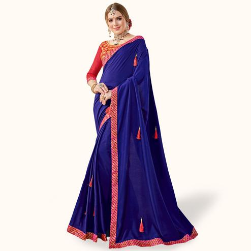 Beautiful Navy Blue Colored Partywear Georgette Saree