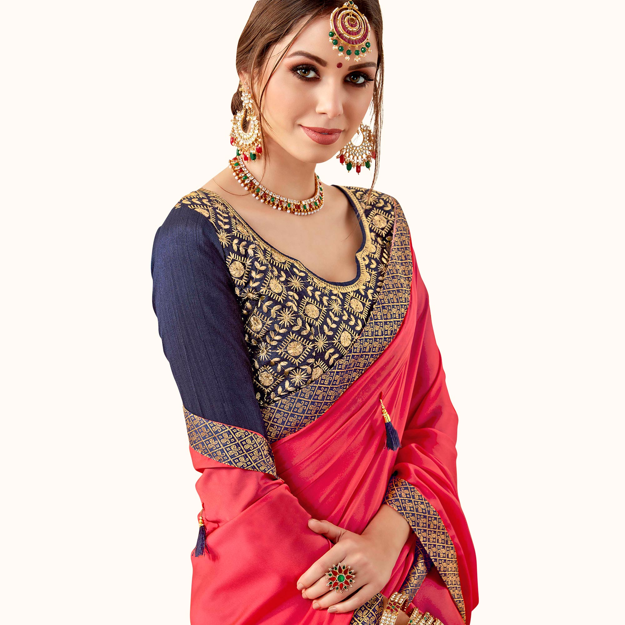 Graceful Pink Colored Partywear Georgette Saree