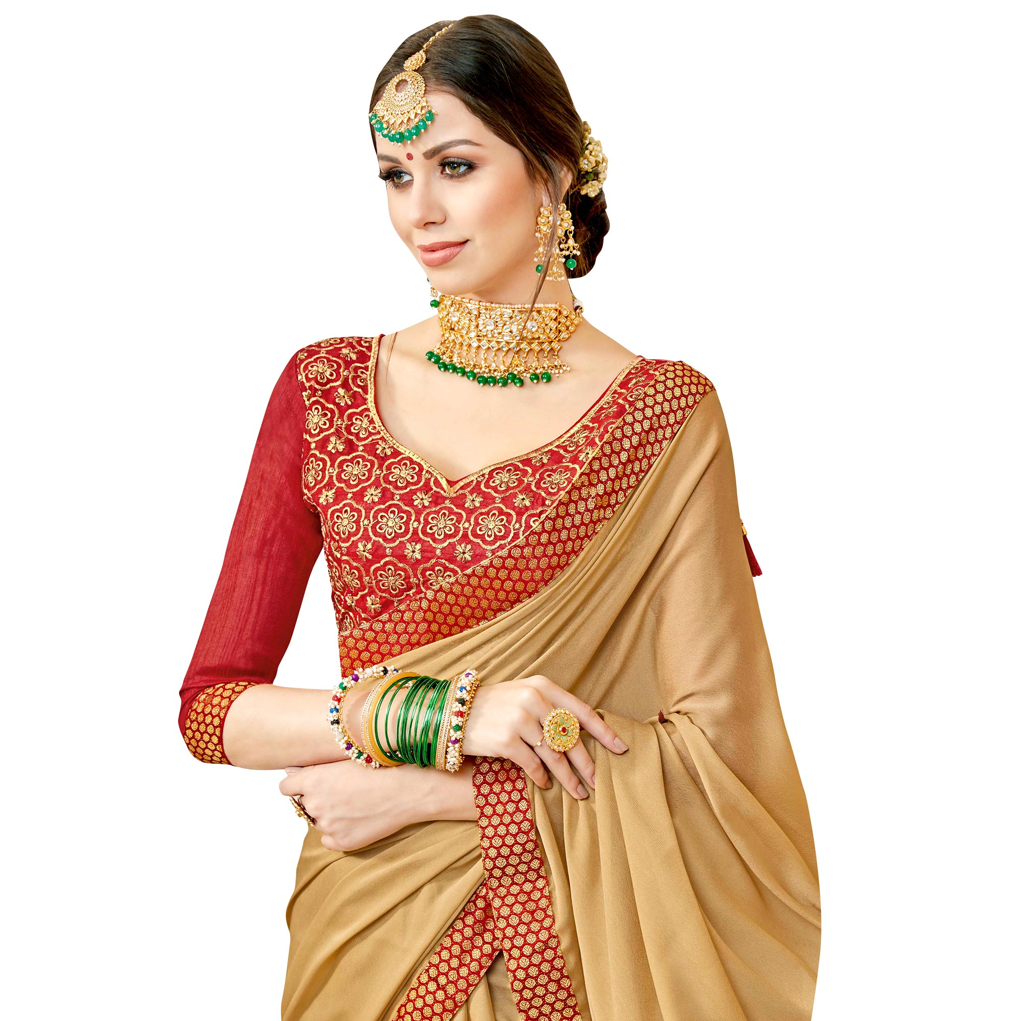 Blooming Chiku Colored Partywear Georgette Saree